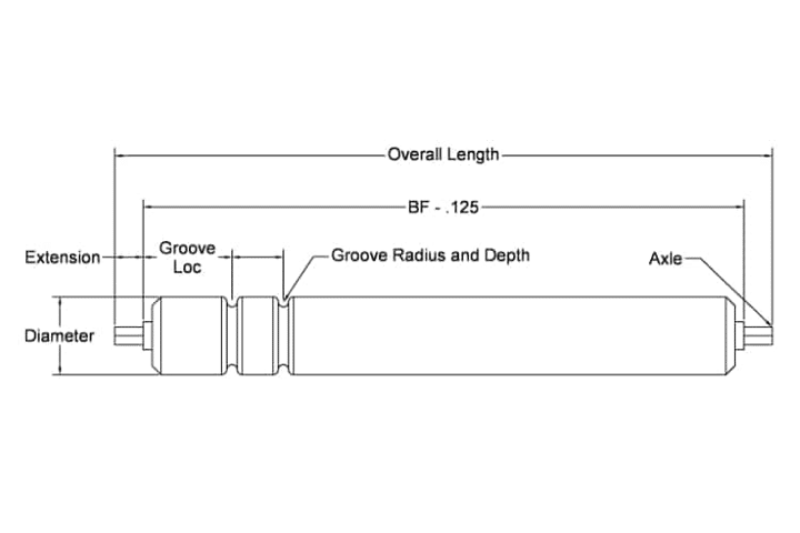 Grooved Straight Rollers Dimensions